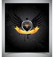 Glossy shield emblem on black background vector image vector image