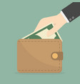 hand taking out money from wallet vector image