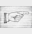 hand with pointing finger retro styled vector image vector image