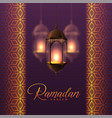 hanging lanterns and islamic pattern design for vector image vector image