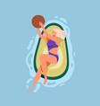 happy woman in swimwear floating on rubber avocado vector image
