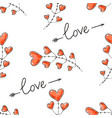 hearts arrows and love inscription seamless vector image
