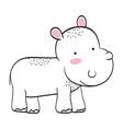 hippo wild animal cartoon vector image