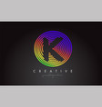 k letter logo design with colorful rainbow vector image