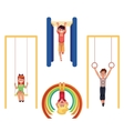 Kids at playground hanging and climbing on monkey vector image vector image