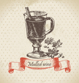Mulled wine hand drawn vector image