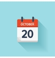 October 20 flat daily calendar icon Date vector image vector image