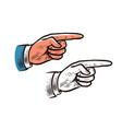 pointing hand vintage sketch forefinger index vector image