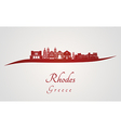 Rhodes skyline in red vector image
