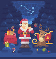 santa claus and his reindeer lost their way in vector image vector image