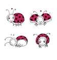 Set of ladybugs Hand drawing isolated objects vector image vector image