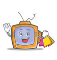 shopping tv character cartoon object vector image vector image