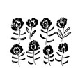 spring black flowers hand drawn set vector image