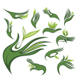 Spring leaves wirh human hands vector image