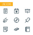 stationery icons line style set with spiral vector image