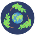 sticker recycling save green planet icon vector image vector image