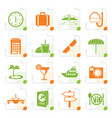 stylized travel trip and tourism icons vector image vector image