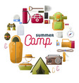 summer camp posters of camping tools vector image vector image