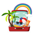 summer object in the suitcase vector image vector image