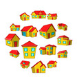 town house cottage set cartoon style vector image vector image