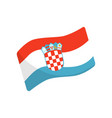 wavy flag of croatia red-white-blue tricolour vector image