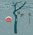 winter banner with tree and birds in china style vector image vector image