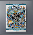 winter sport doodles poster design ski resort vector image vector image