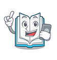 with phone opened book on the cartoon table vector image vector image