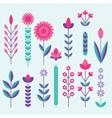 geometric cute flower icons set vector image