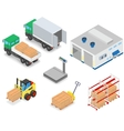 Loading or unloading a truck in the warehouse vector image