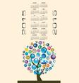 2015 Globe Tree Calendar vector image