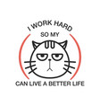 badge lettering cat vector image vector image