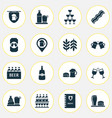 beverages icons set with wheat bar menu lunch vector image
