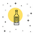 black line glass bottle vodka icon isolated on vector image vector image