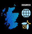 blue hexagon scotland map vector image