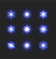 blue light sparkling and shining stars set on vector image vector image