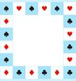 card suits blue white chess board border vector image vector image