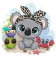 cartoon koala owls and crab on beach vector image vector image