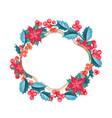 christmas mistletoe wreath over white vector image