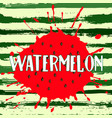 circle of juicy watermelon on a striped background vector image