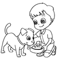 Coloring book child feeding dog vector image