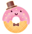 cute intelligent donut character cartoon vector image vector image