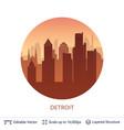 detroit famous city scape vector image vector image