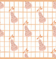 doodle pears seamless pattern on line background vector image vector image
