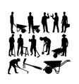 farmer and worker activity silhouettes vector image vector image