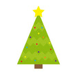 fir-tree icon yellow star tip top round ball vector image