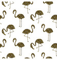 flamingo gold glitter silhouette seamless vector image vector image