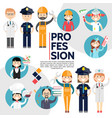 flat male and female professions composition vector image vector image