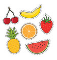 fruit on stickers isolated on vector image