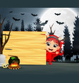 halloween cartoon a girl wearing red devil costume vector image vector image